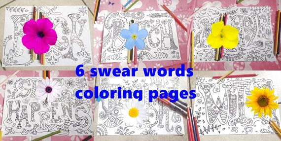 swear words adult coloring book sweary page di LaSoffittaDiSte