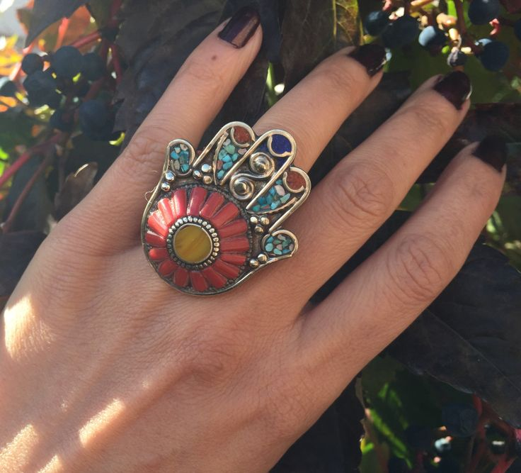 Hamza Ring-Hands Of Fatima Ring-Nepal Coral Turquoise Ring-Vintage Navajo ring- Statement Jewelry - Tribal ethnic Turquoise Jewelry by JewelsofNomads on Etsy