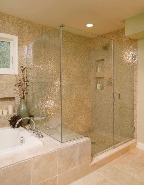 Modern Shower Enclosures Walk In Shower Mosaic Tiles Bathroom Decorating Ideas