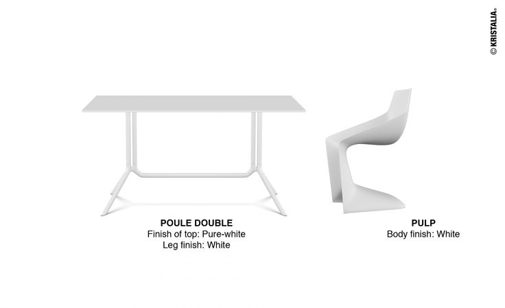 Here we come back again with  our #mondayidea! Today we suggest a total white combination:   Poule Double table Pulp chair  Get inspired at: www.kristalia.it