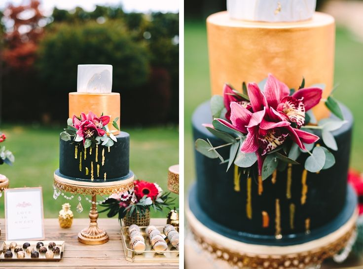How about a delicious cake for a surprise on Valentine's Day?  #valentinesday #cake #elegant #candybar #black #gold #red #inspiration #decoration #weddingplanner #dreamsinstyle