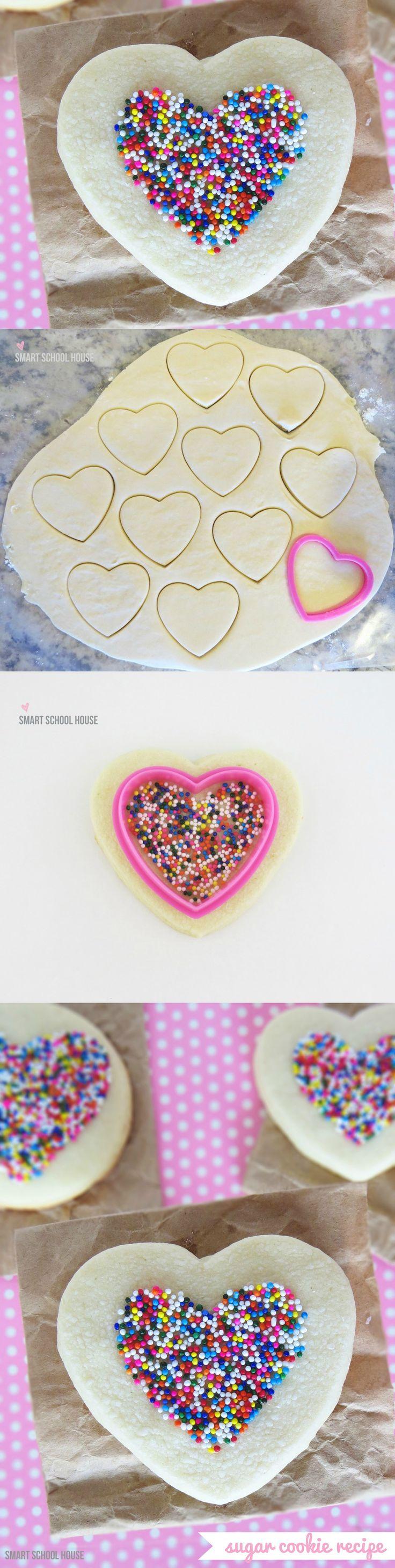 A simple way to make sprinkled sugar cookies. I love easy!