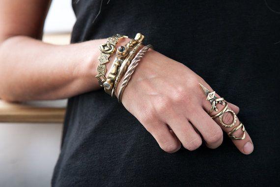 The triple warrior Armor gold ring engraved goth by BreakAstone #breakastone #ring #armor #nidodileda