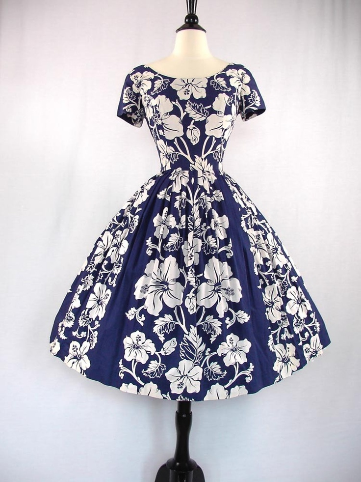 1950's Hawaiian sun dress - white hibiscus print ~ I love the bold print and bright primary-colored blue and white.