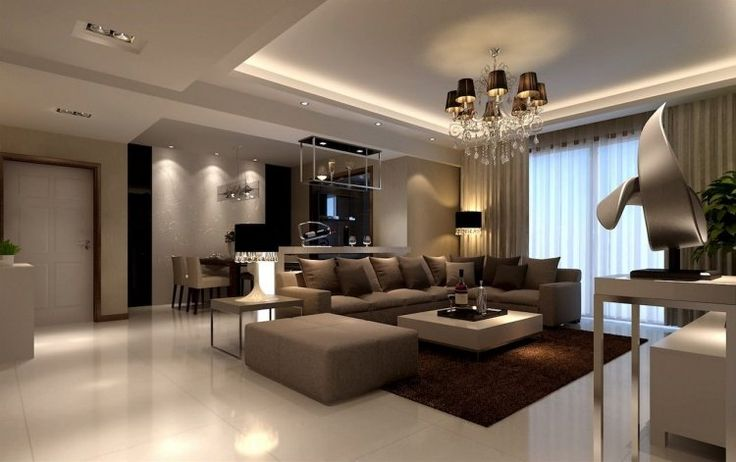 murs en marron clair, lustre Romeo, lampe à poser design, canapé d'angle marron pastel et sol en grès cérame blanc neige