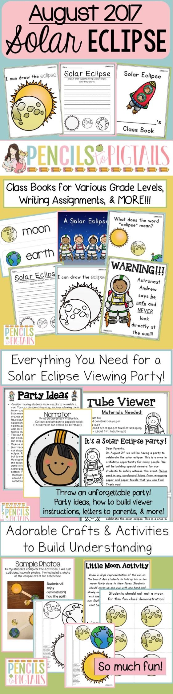 The perfect resource to throw a solar eclipse party and celebrate this once in a lifetime event with your students! I love all of the activities included: crafts, masks, detailed viewer instructions, writing practice sheets and more!