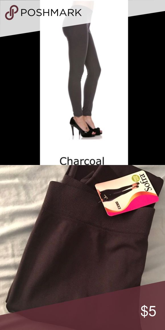 Charcoal Leggings 92% Polyester, 8% Spandex. One Size fits most!!! Color: Charcoal Pants Leggings