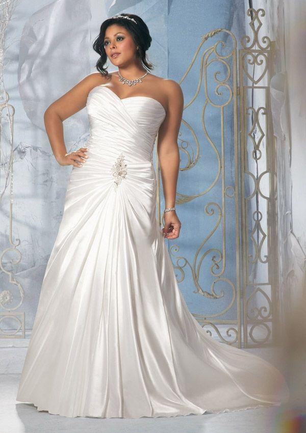Popular Plus size wedding Dress From Julietta By Mori Lee Diamante Beaded Applique on Soft Satin