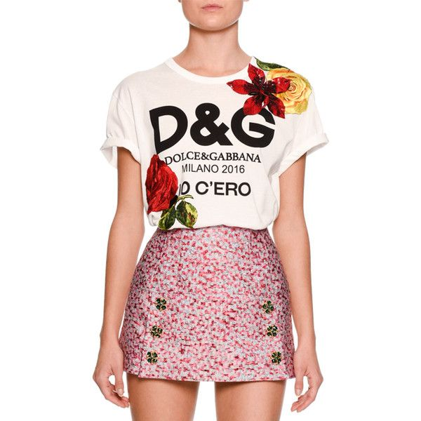 Dolce & Gabbana Floral-Embellished Logo Tee ($1,495) ❤ liked on Polyvore featuring tops, t-shirts, white, women's apparel tops, cotton pullovers, floral t shirt, cotton logo t shirts, crew neck t shirt and short sleeve tee