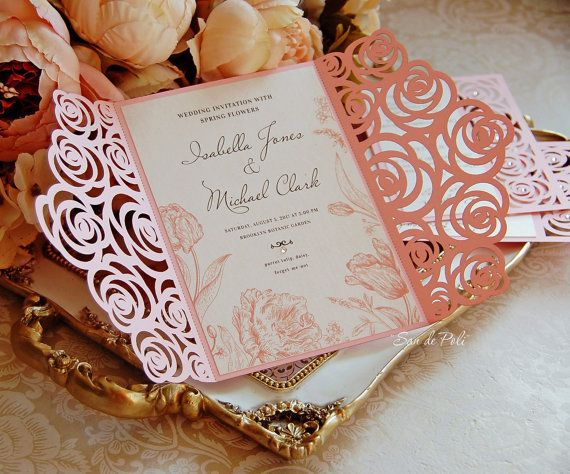 Roses Wedding Luxery Card Template Cutting File By EasyCutPrintPD