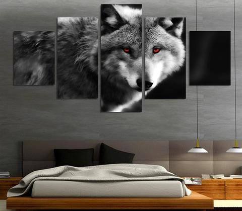 Red Eyed Wolf 5 Piece Canvas Print