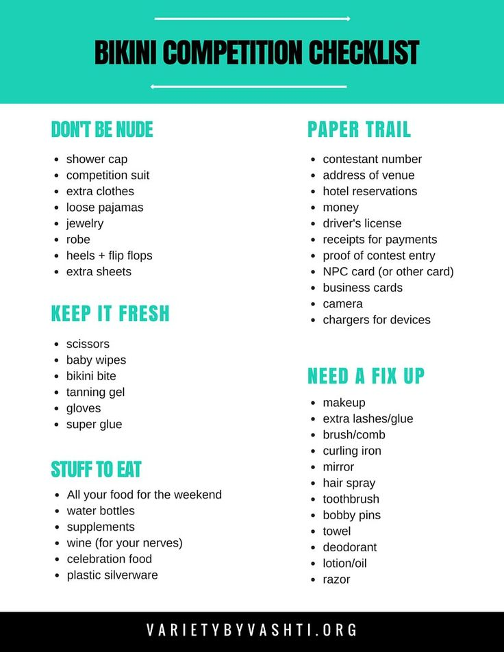 Printable Checklist- What to Pack for A Bikini Competition - Variety by Vashti