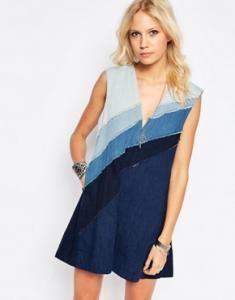 Платье из ткани шамбре в нескольких оттенках синего Free People - Синий 695619