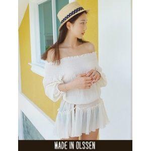 [픽키스트] korea fashion 오프숄더 잔잔한 셔링과 밴딩이 들어간 오프숄더원피스 - 39,000원 by 올슨