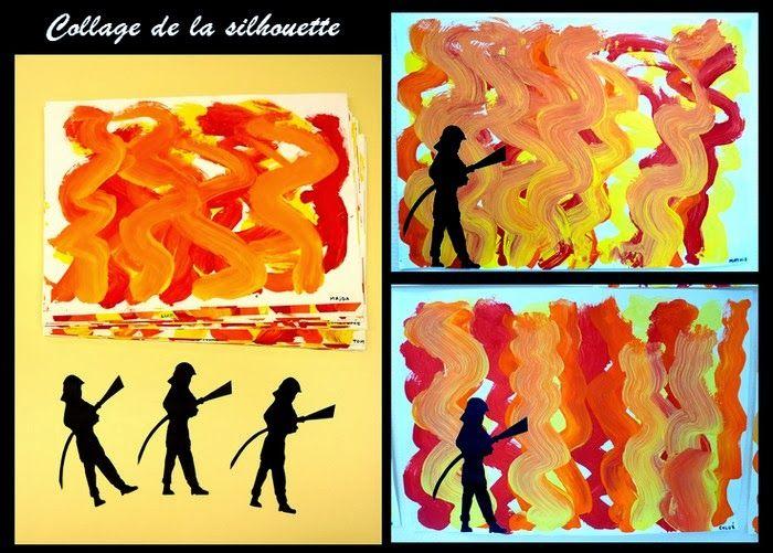 peindre le feu et silhouette de pompier.