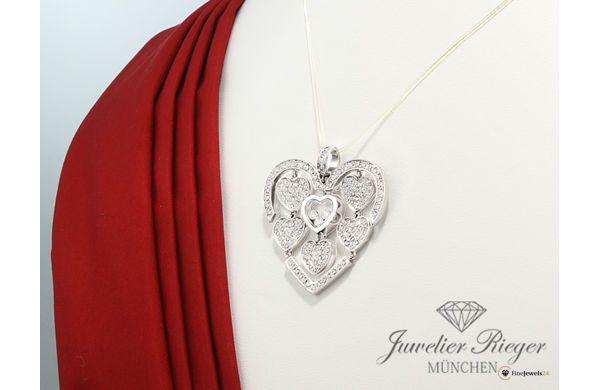 Heart pendant by CHOPARD, ANHÄNGER HAPPY AMORE DIAMONDS HERZ WEISSGOLD 750 DIAMANTEN 797220, diamonds, necklace