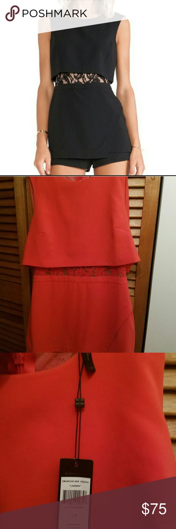 NWT Bcbg Larsen In CORAL size 8  romper Gorgeous coral bcbg romper wanted to use but now it fits too big on me. Color is coral!!! BCBGMaxAzria Pants Jumpsuits & Rompers