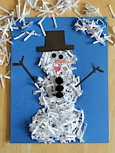 Create a fun little snow man out of shredded recycled paper! Then use puff balls for the buttons. Googley eyes for the eyes and pre cut mouth and nose for those. The arms could be black toothpicks. The hat can be pre cut as well. This would be a great project for many ages, the older the kids get the less stuff will be pre cut out.