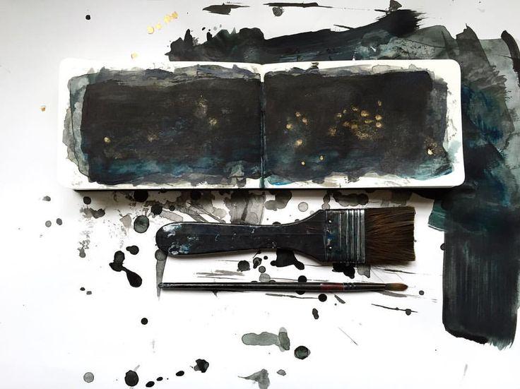 on my desk | bluish black  #sketchbook #acrylicpainting #artonpaper  #ohbecourageous