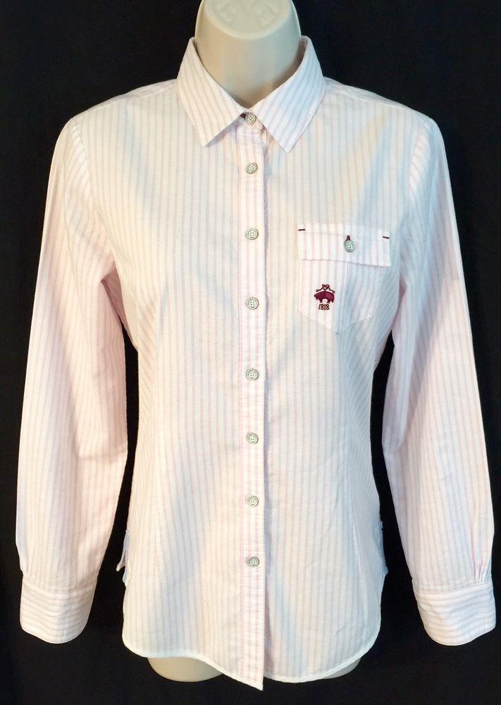 Brooks Brothers Women's Shirt SZ 4 Red Fleece Pocket Pink Oxford Top Blouse #BrooksBrothers #ButtonDownShirt #Career
