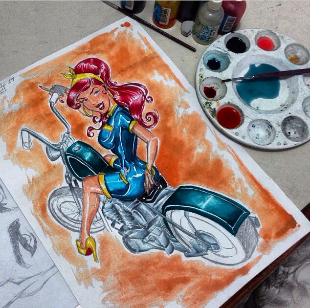 Pin Up inspired by Tyson M. (Watercolors)