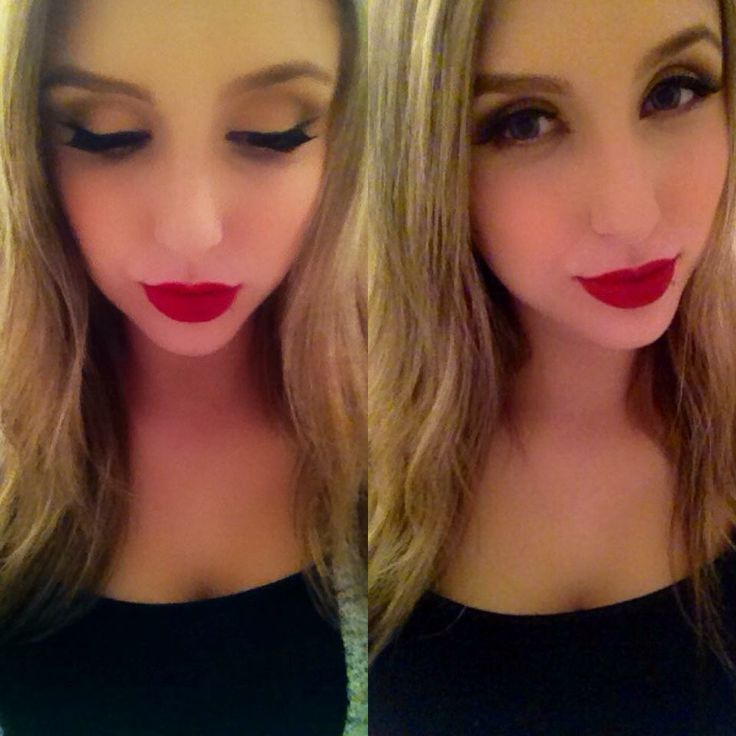 Makeup my friend did on me for a course #makeup #redlips #eyeliner #contouring #blonde #toronto