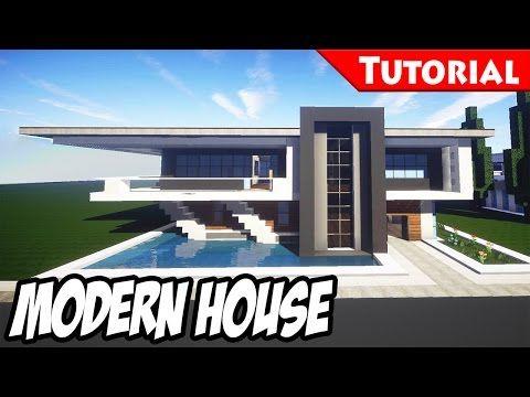 Minecraft easy modern house mansion tutorial 4 for Minecraft case moderne