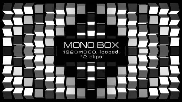 Mono Box Video Animation | 12 clips | Full HD 1920×1080 | Looped | Photo JPEG | Can use for VJ, club, music perfomance, party, concert, presentation | #black #disco #dynamic #edm #fast #loop #monochrome #moving #music #shape #stripes #techno #trap #vj #white