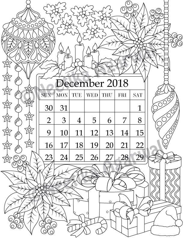 December 2018 Coloring Page - Calender, Planner, Doodle, Flowers, Instant Download, Printable, Digital Download Only