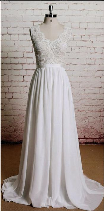 Vintage Long Chiffon Wedding Dresses,Lace White A-line Beach Wedding Dresses,Bridal Dresses