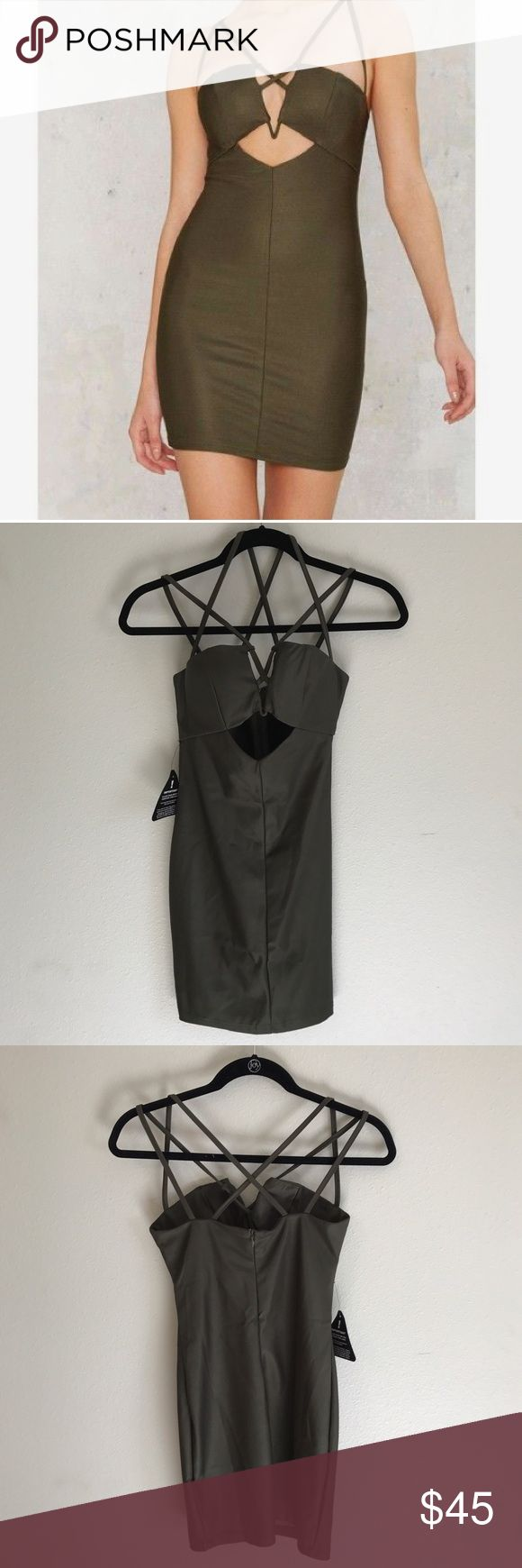 Rare London Olive Green Dress Rare London dress purchased from Nasty Gal. The first picture shows the color it is in person. The dress is gorgeous and fits like a glove but unfortunately I don't have anywhere to wear it to. Nasty Gal Dresses