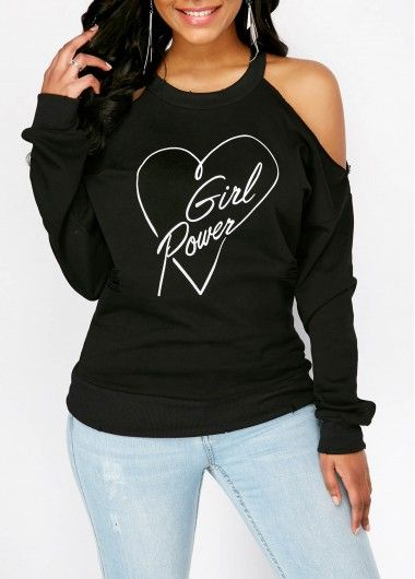 Distressed Cutout Back Cold Shoulder Printed Sweatshirt | Rosewe.com - USD $32.13