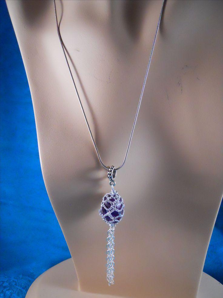Amethyst pendant with chain tassel by Mummyearth Designs