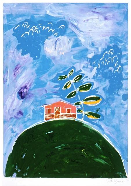 Choza de Surf, silkscreen monoprint by Britt Browne