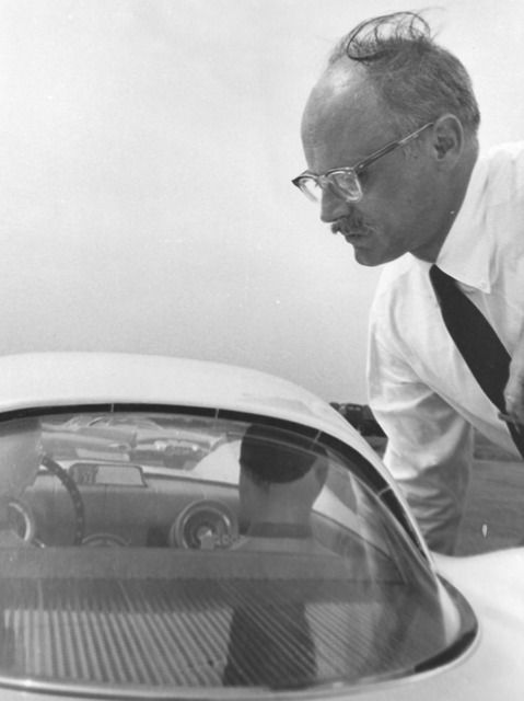 1955 Tremulis looking over the 3/8ths scale Ford Mexico wind tunnel model.
