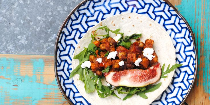 This chickpea taco dish is packed with hearty vegetarian protein, a zing from preserved lemon and a spicy kick from African spices. Yummo!