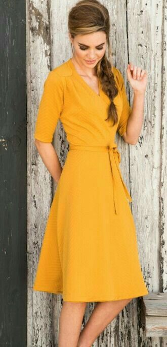 Mustard wrap dress, spring fashion
