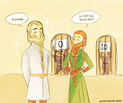 """""""hey legolas some of those prisoners have pretty cool beards"""" """"I guess"""" """"wanna give it a go"""" """"GAME ON"""""""