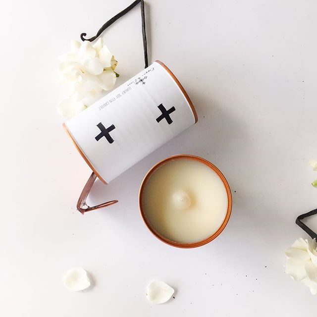 Copper and Cross - scandi candle decor. Luxury soy candle in a can in Vanilla Bean