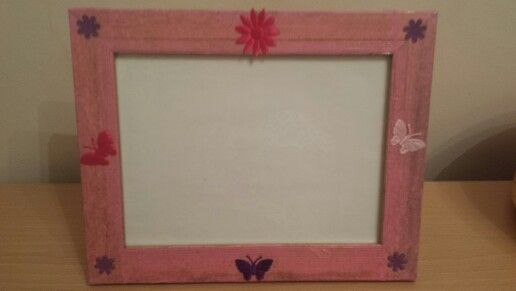 Pink decoupage on gold effect frame with embellishments