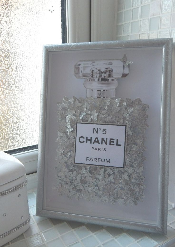 Glitter picture Chanel no 5 with lots of silver glitter butterflies, in silver glitter 3d frame, Bespoke by Flutterframes on Etsy