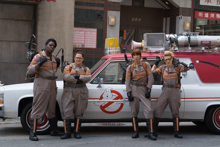 Here it is. We've seen the costumes and proton packs from the new Ghostbusters, directed by Paul Feig. We've seen the film's new ride, and paparazzi photos have shown the cast — Melissa McCarthy, Kristen Wiig, Kate McKinnon, Leslie Jones — on set. Now there's an official image of the Ghostbusters crew all geared up to …