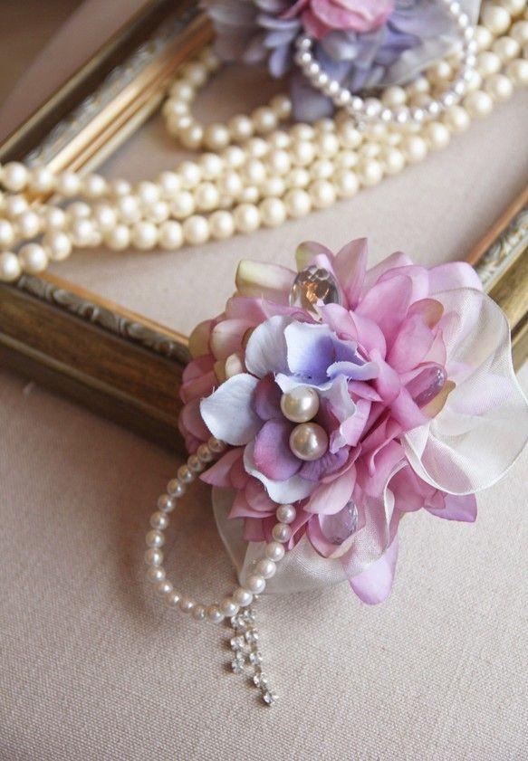 再々販【POPO】 Flower Corsageスモーキーパープルのダリアコサージュ-purple-|コサージュ|ハンドメイド通販・販売のCreema