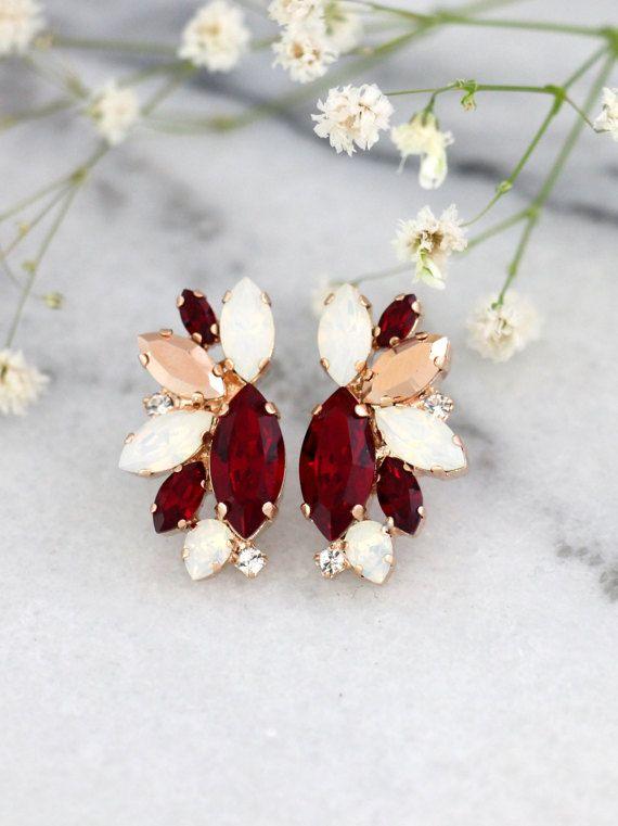 Ruby Earrings Bridal Ruby Earrings Ruby Red Swarovski