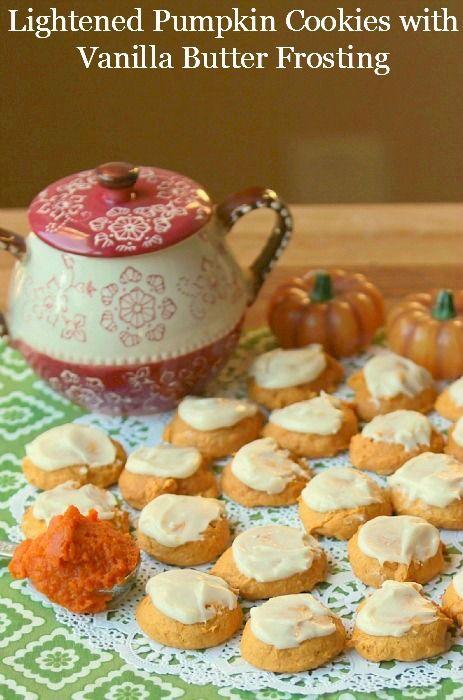 Light & Healthy Pumpkin Cookies with Vanilla Butter Frosting www.fooddonelight.com