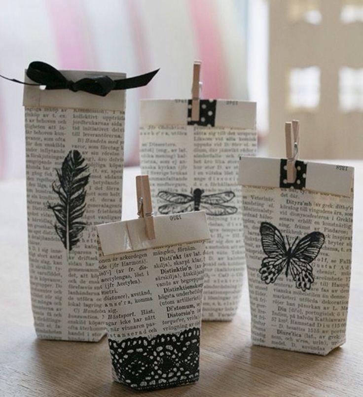 Zakje maken van een bladzijde uit een boek, versieren met ...