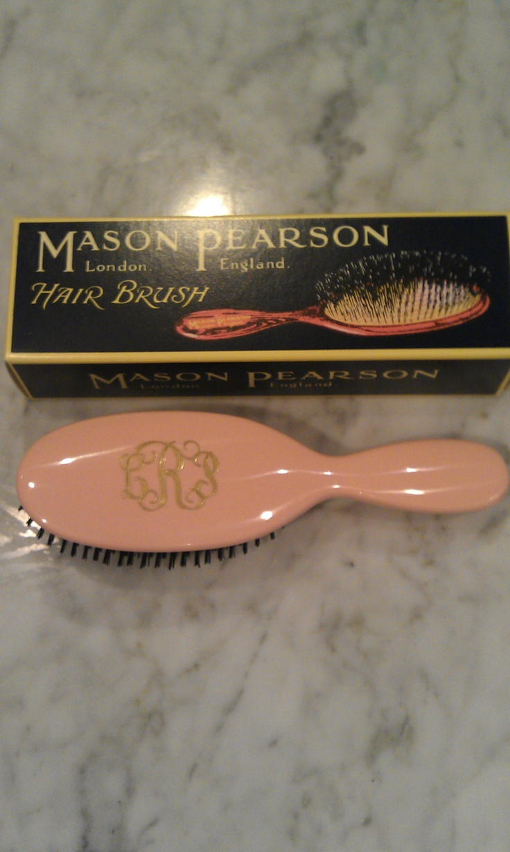 pink soft bristle monogrammed Mason Pearson Hair Brush. $98.00, via Etsy.