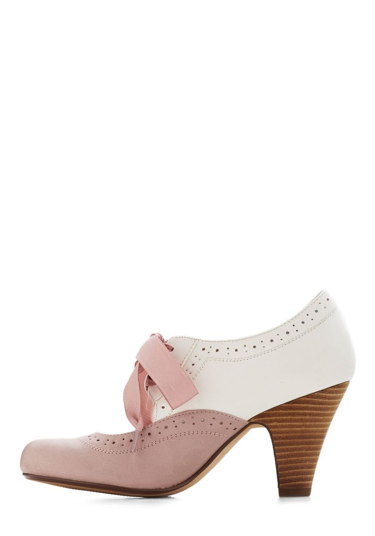 Book Signing Soiree Heel in Pink. Your book signing becomes an even more sought-after social event since youre mingling with readers in these stacked heels by Chelsea Crew! #pink #wedding #modcloth