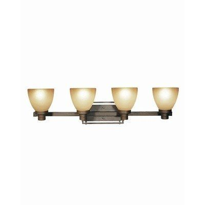 """Wayman 4 Light Bath Vanity Light by Woodbridge Lighting. $199.00. 53078-BRZ Features: -Bath vanity light. -Wayman collection. -Number of light: 4. -Finish: Bronze. -Burnt etched glass. -UL listed for damp locations. Specifications: -Bulb type: 100W medium base bulbs. -Overall dimensions: 9.75"""" H x 35.625"""" W x 8.25"""" D."""
