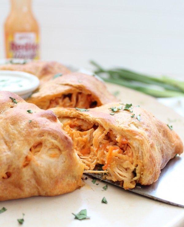 30 Minute Buffalo Chicken Crescent Ring #Recipe #BuffaloSauce #Chicken